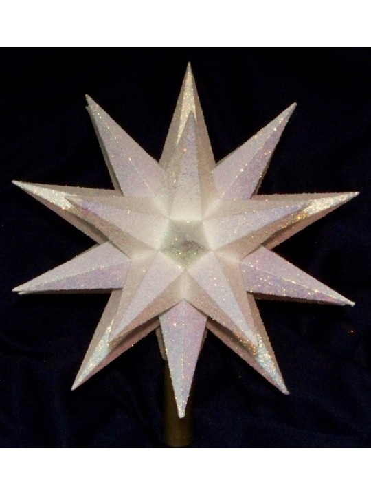 Christmas tree topper, handmade white glittered paper with 180 faces and 32 points