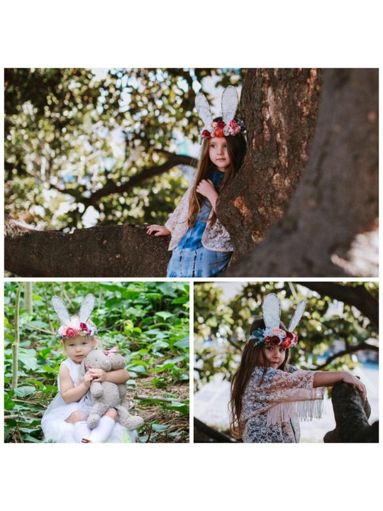 Bunny Ear Flower Crown, Lace Bunny Ears, Bunny Ear Crown, Easter Floral Crown, Easter Bunny Ears, Easter Accessories, Girls Easter Outfit