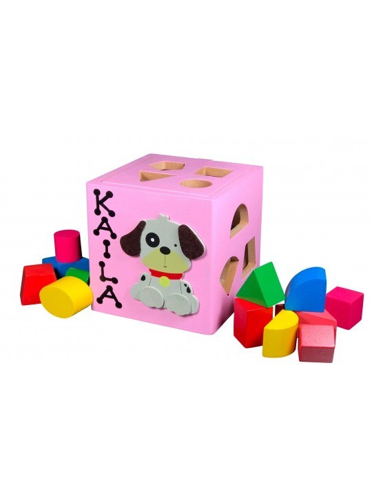 Personalized shape fitting cube,  motor skills cube, motor skills toys, wooden toy,  gift for baby boy,  gift for baby girl, shape sorter