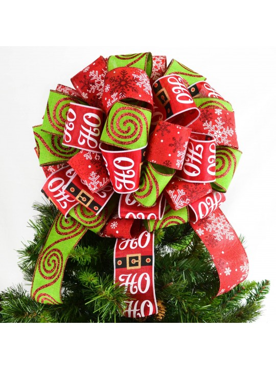 Santa Christmas Tree Topper Bow - Red and Lime Green Gift or Present Bow - Santa Bow for Top of Christmas Tree - Lantern Bow