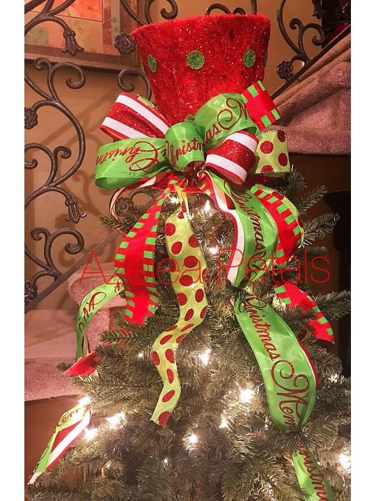 Christmas Top Hat Tree Topper, Candy Red and White, Green Tree Topper, Candy Cane Top Hat, Centerpiece, Christmas Decor, Holiday Decoration