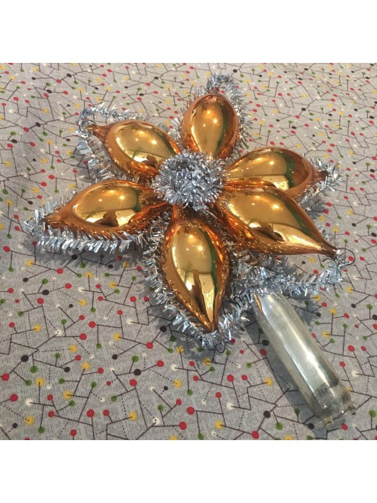 Sale - Gold and silver star tree topper, mercury glass, tinsel, blown glass, tube, ornaments