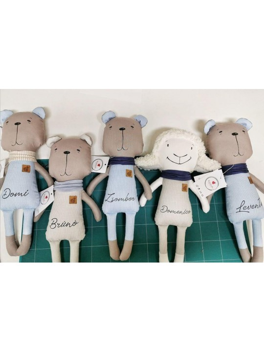 Stuffed Lamb Personalized Boy Baby Shower Gift - Exclusive Toy -  Fabric Animals - Cotton Lamb Doll - Gift for New Father