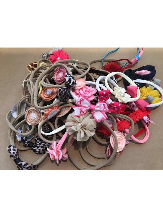 Clearance Wholesale Lot 30 Pack Pinwheel Burnt Edge Flower Lace Boutique headbands Baby Toddler Girl Teen 2