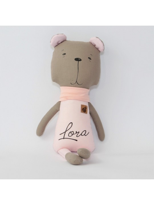 Pink Stuffed Bear Stuffed Toy Gift for Girl - Expecting Mom Gift - Large Stuffed Animal - Pink Striped Bear - Granddaughter Gift